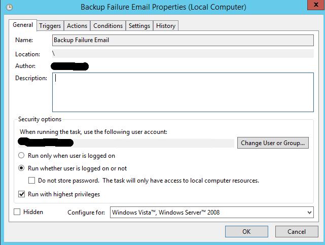 Azure backup notifications - task scheduler