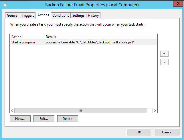 Azure backup notifications - start program in task scheduler