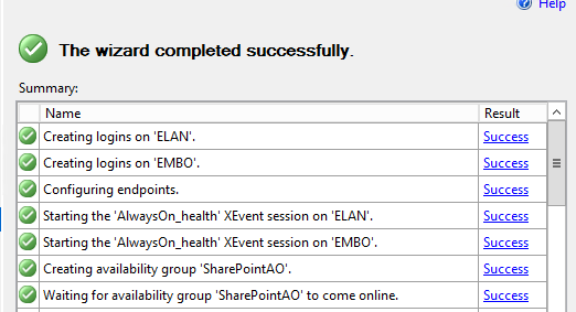 SQL Server AlwaysOn - Wizard completion
