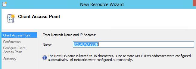 SQL Server AlwaysOn - set name for client access point