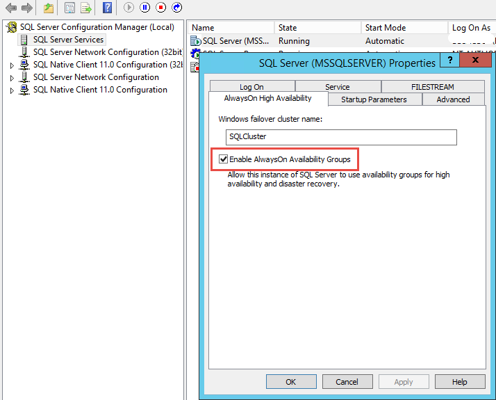 SQL Server AlwaysOn - Enable AlwaysOn availbility groups