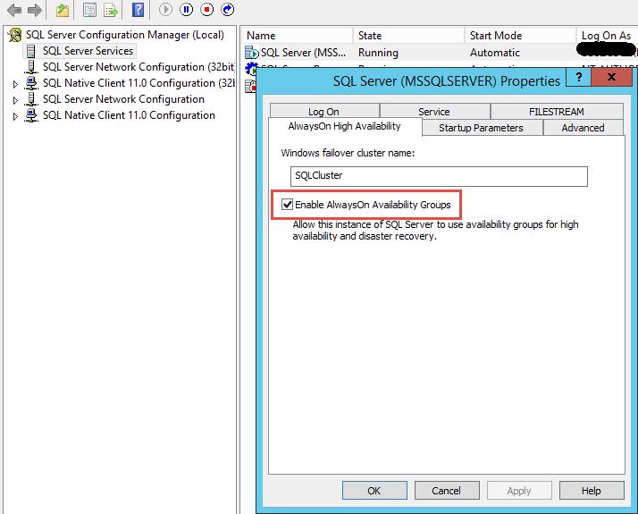 SQL Server AlwaysOn - Enable AlwaysOn availbility groups