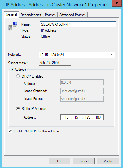 SQL Server AlwaysOn - cluster IP address properties