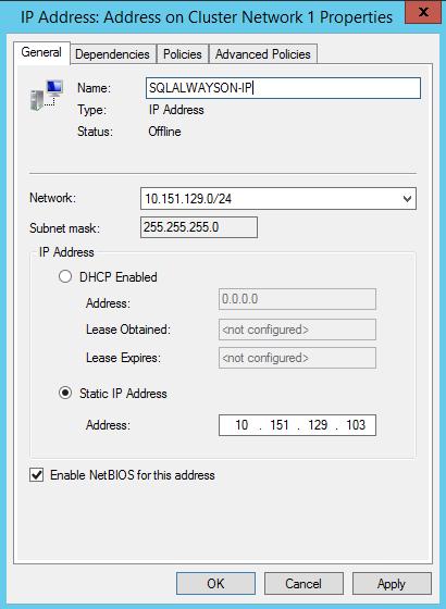 SQL Server AlwaysOn - cluster IP address properties
