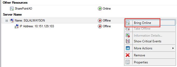 SQL Server AlwaysOn - Bring resource online