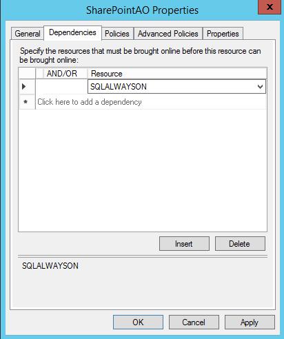 SQL Server AlwaysOn - set dependancies