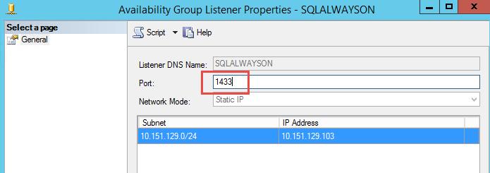 SQL Server AlwaysOn - Change listener port