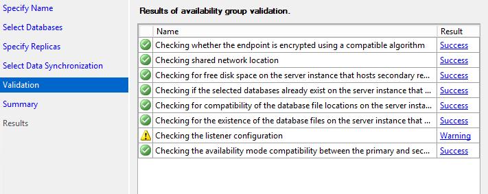 SQL Server AlwaysOn - Run validation