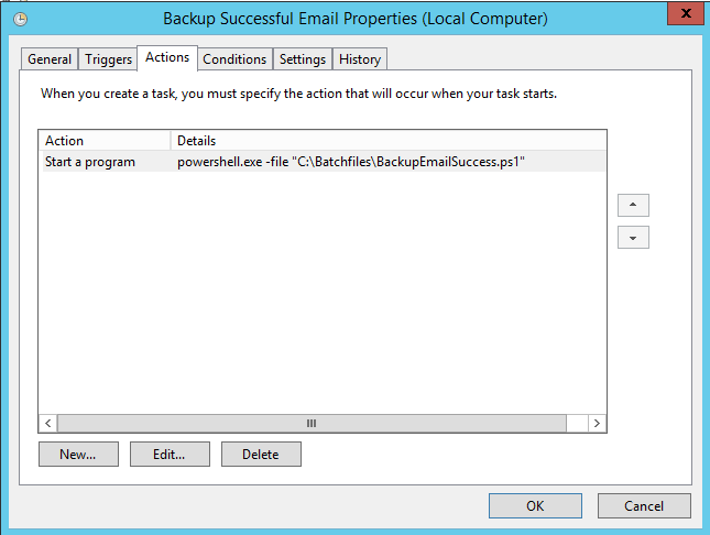Azure backup notifications - task to run PowerShell script