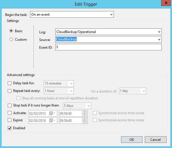 Azure backup notifications - Task on event