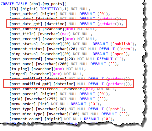 WordPress on Azure - Azure SQL changes