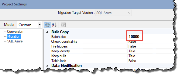 WordPress on Azure - Azure SQL Migration batch size