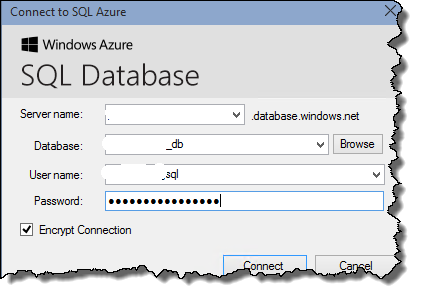 WordPress on Azure - Migration tool connect to Azure SQL