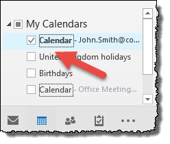 Outlook - select calendar to be exported