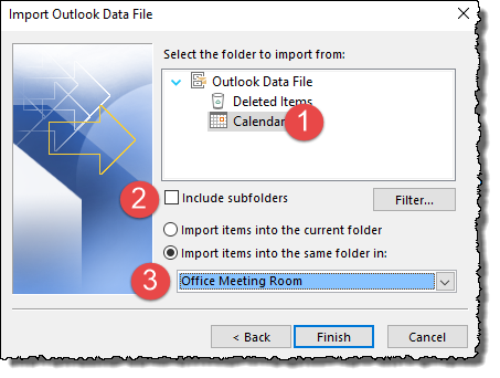 Outlook - select calendar to import into