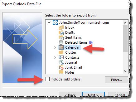 Outlook - select calendar
