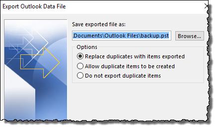Outlook - Select backup file