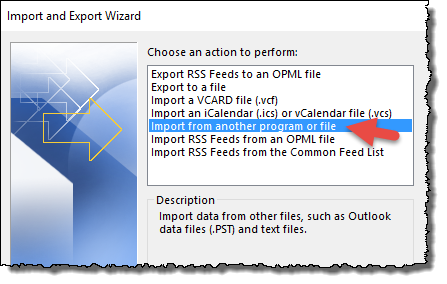 Outlook - Import from file