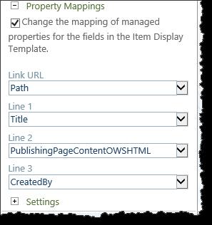 Display template selecting properties