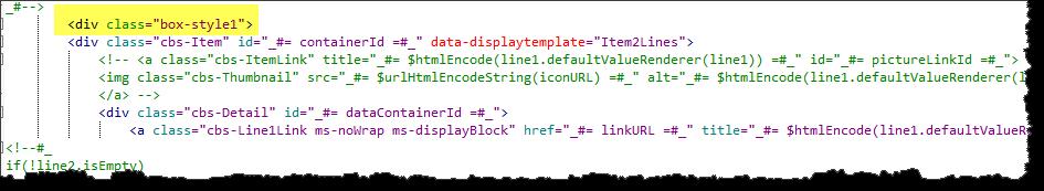 Display template add DIVs