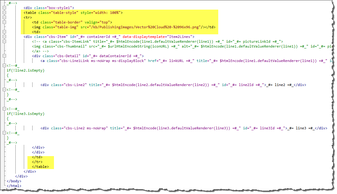 Display template view of all code