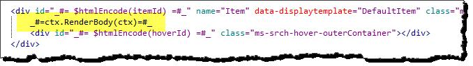 Modify search display template