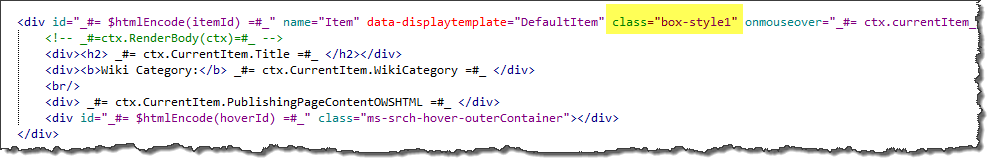 Search display template CSS modification after