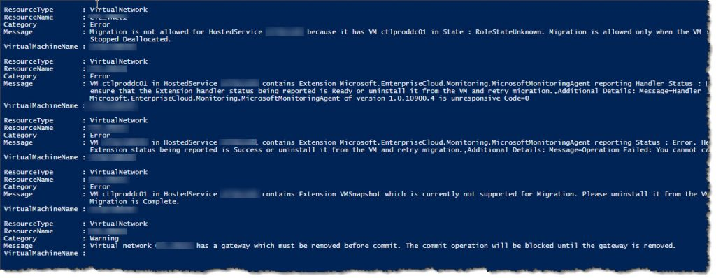 Azure ASM to ARM migration validation errors
