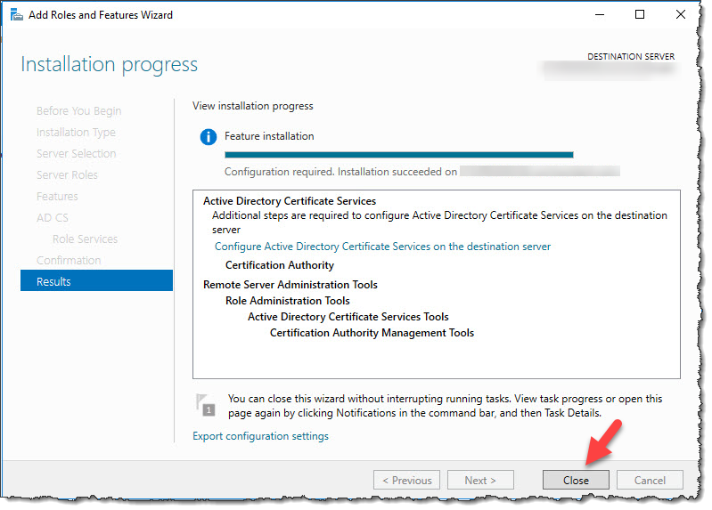 Install Active Directory Certificate Services
