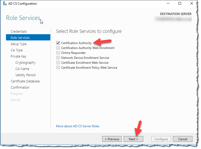 Configure Active Directory Certificate Services