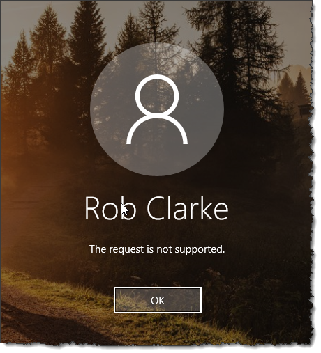 Windows Hello for Business - The request is not supported