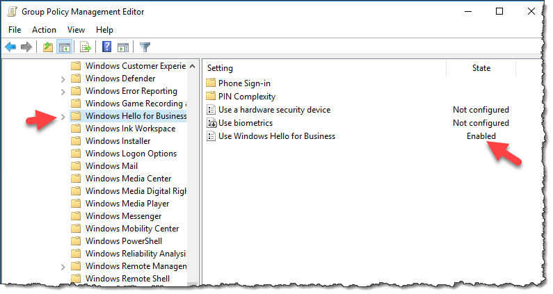 Windows Hello for Business Group Policy Object