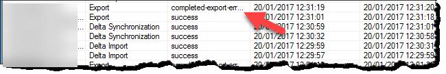 FIM Sync Configuration Export Error